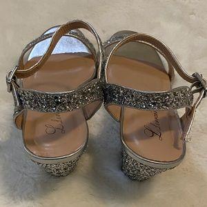 Lauren Lorraine Shoes - Lorraine Silver Glitter Wedge Heel Sandals sz 8